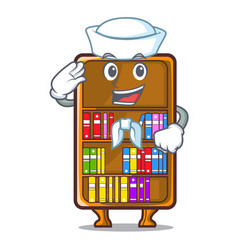 Sailor mascot bookcase beside the study desk vector