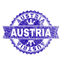 Scratched textured austria stamp seal with ribbon vector