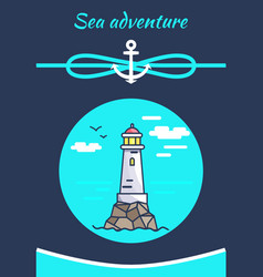 sea adventure color banner with white lighthouse vector image