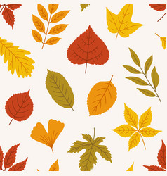 Seamless autumn pattern with different cute leaves vector