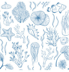 seamless monochrome blue attern with marine hand vector image