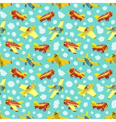Seamless pattern with toy airplanes vector image