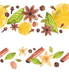 Seamless watercolor pattern with different spices vector image