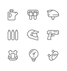 set line icons of paintball vector image
