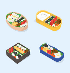 set of different bento japanese lunch boxes vector image