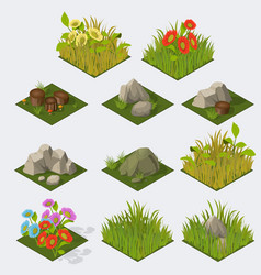 Set of Isometric landscape Tiles vector image