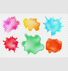 set watercolor aquarelle spots on transparent vector image