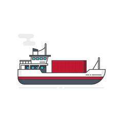 shipping container via ship vector image