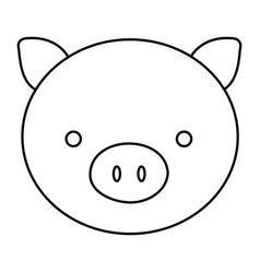 silhouette face cute pig animal farm icon vector image