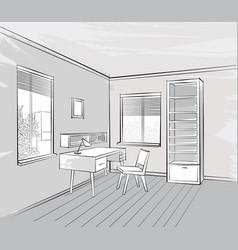 Sketch of interior beautiful room working place vector