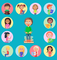 Small icons with read children on blue background vector