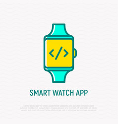 smart watch app icon symbol of coding on screen vector image