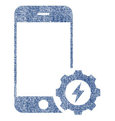 Smartphone power options gear fabric textured icon vector