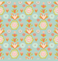 soft ocean teal and orange vintage floral vector image