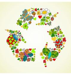 Springtime green recycle icon vector