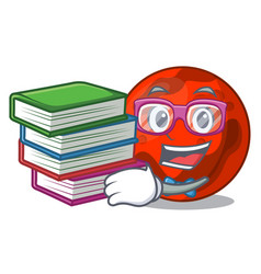 Student with book mars planet mascot cartoon vector