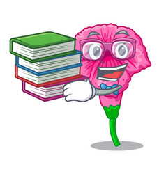 Student with book petunia in a mascot flower vector