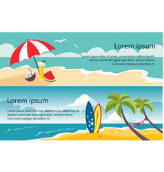 Summer travel horizontal banners sandy beach vector
