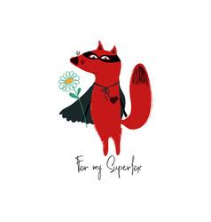 Superhero red fox holding a flower vector
