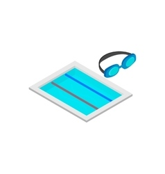 Swimming track isometric 3d icon vector