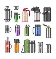 thermos vacuum flask or stainless bottle vector image