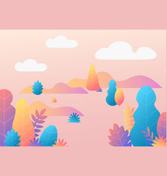 trendy fantasy background with plants modern vector image
