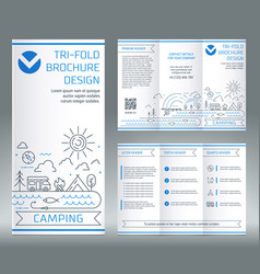 Tri-fold brochure template on topic of vector