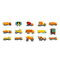 truck icon set flat style vector image