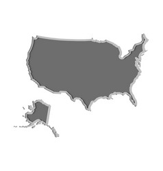 usa map paper cut country isolated on a white vector image