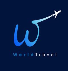 W travel company logo concept vector