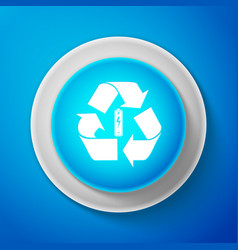 white battery with recycle symbol icon vector image