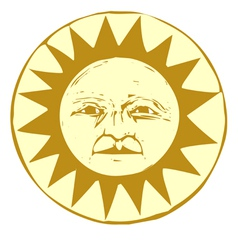Woodcut Sun vector