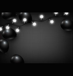 balloon and light bulb on black background vector image vector image
