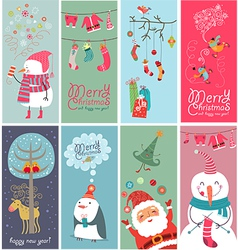 Christmas banners with funny characters vector image vector image