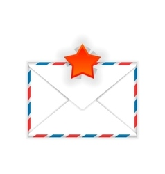 Envelope with red star mark flat icon vector image