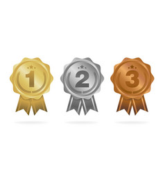 first place second place third place award medals vector image vector image