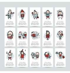 Funny people collection business cards for your vector image