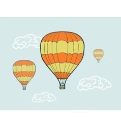Hand drawn sketch air balloons vector