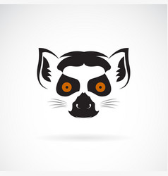 ring-tailed lemur head design on white background vector image