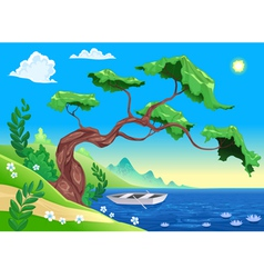 Romantic landscape with tree and water vector image vector image