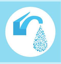 Small water drop from faucet vector