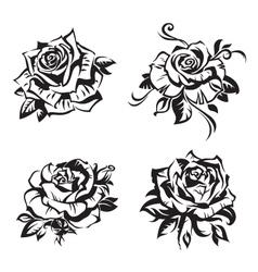 black rose set vector image vector image