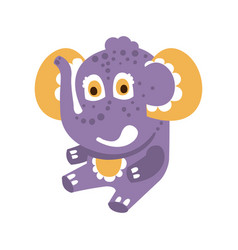 cute cartoon baby elephant character sitting on a vector image vector image