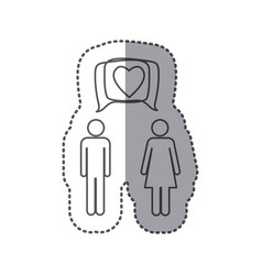 sticker silhouette pictogram male and female with vector image vector image
