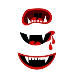 Vampire halloween mouth with fangs isolated on vector image