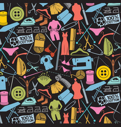 background pattern with sewing and needlework icon vector image vector image