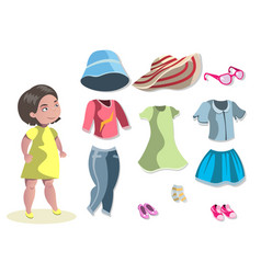 cute girl with different choosing clothes vector image vector image