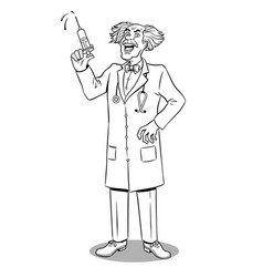 mad doctor with syringe coloring book vector image vector image