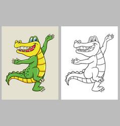dancing crocodile cartoon character coloring book vector image