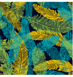 Hand drawn seamless pattern of feathers color of vector